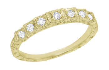 Yellow Gold 1920's Vintage Design Art Deco Engraved Tiered Diamond Wedding Band
