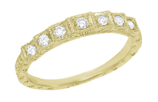 Yellow Gold 1920's Art Deco Wedding Cake Vintage Tiered Diamond Wedding Band