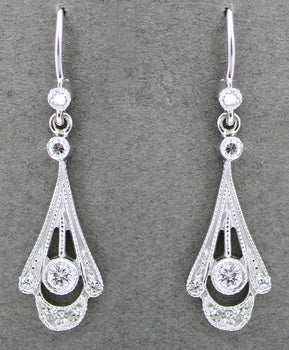 Vintage Inspired 1920's Art Deco 18 Karat White Gold and Diamond Drop Earrings