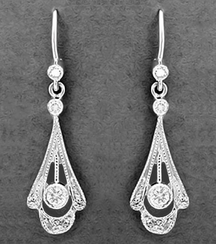 Vintage Platinum Art Deco Diamond Drop Earrings Circa 1920s