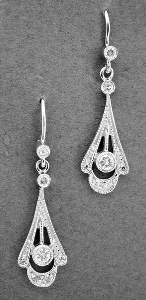 Platinum 1920s Art Deco Antique Tear Drop Diamond Earrings