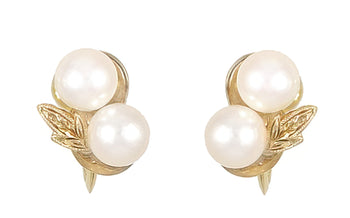 Vintage Mikimoto Pearl Earrings in 14 Karat Yellow Gold