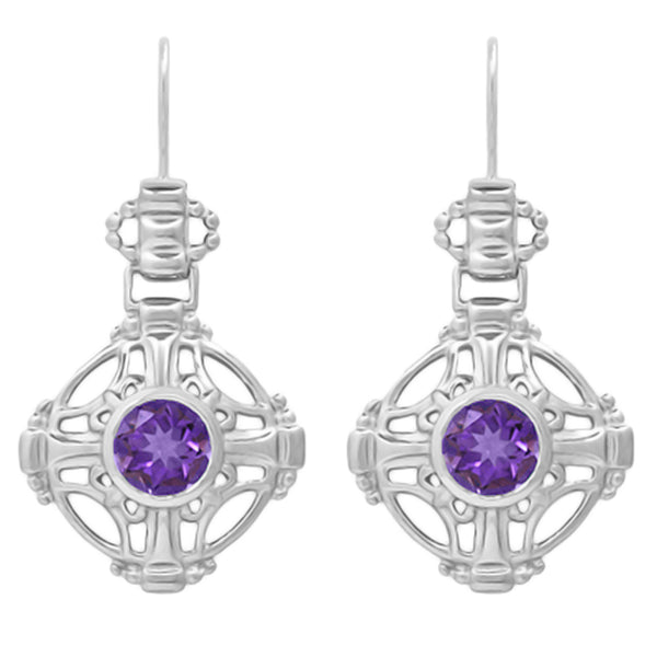 Antique Amethyst Filigree Earrings - Arts and Crafts- Sterling Silver - E174WAM
