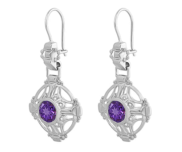 Side Detail Amethyst Filigree Arts and Crafts Earrings in Sterling Silver