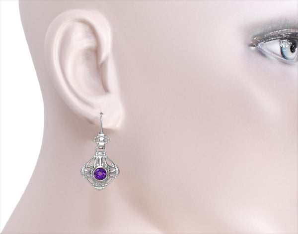 Ear Photo - Antique Arts and Crafts Amethyst Filigree Drop Earrings