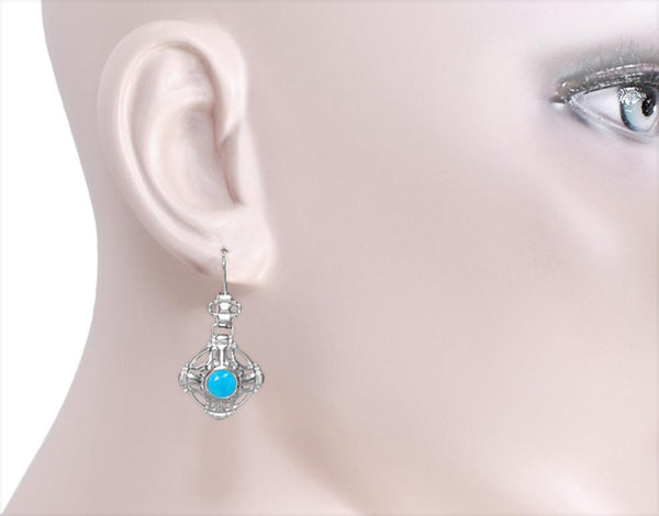 Model Wearing Antique Filigree Arts and Crafts Turquoise Earrings  E174WTQ