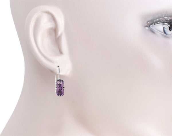 E183AM - Antique Filigree Cushion Cut Pale Lilac Amethyst Earrings on a Ladies Ear