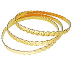 Trio of Stackable Engraved Bangle Bracelets in 21 Karat Gold