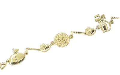 Vintage Golf Charm Bracelet in 14 Karat Yellow Gold