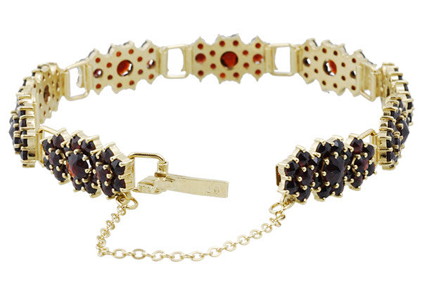 Antique Style Bohemian Garnet Cluster Link Victorian Bracelet - Yellow Gold Vermeil Over Sterling Silver - Item: GBR135S - Image: 1