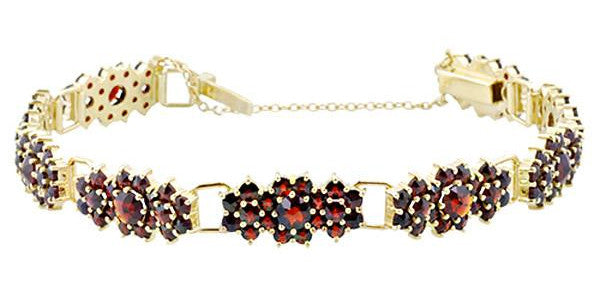 Antique Style Bohemian Garnet Cluster Link Victorian Bracelet - Yellow Gold Vermeil Over Sterling Silver