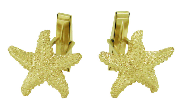 Solid Gold Star Fish Cufflinks - GCL102