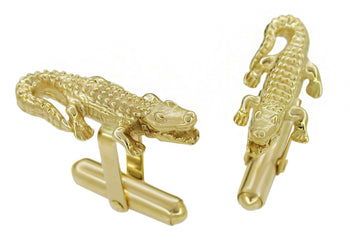 Alligator Cufflinks in 14 Karat Yellow Gold