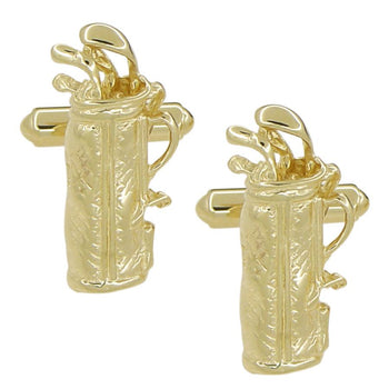 Golf Bag Cufflinks in Solid 14 Karat Yellow Gold