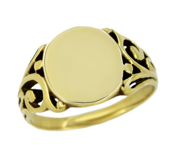 Mens Oval Victorian Filigree Scrolls Signet Ring in 14 Karat Yellow Gold