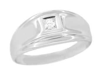 Men's Retro Moderne Diamond Ring in 14 Karat White Gold
