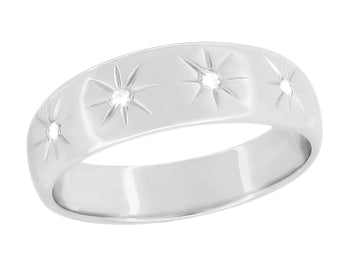 Retro 1950's Men's Tapered Starburst Diamond Wedding Band in 14K White Gold - 7mm