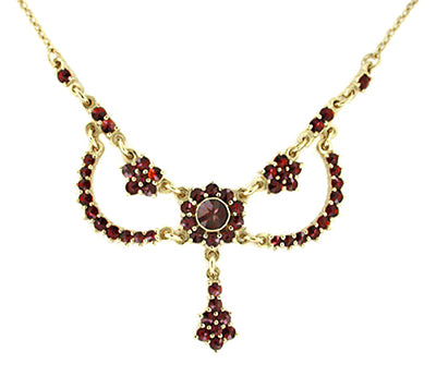 Victorian Bohemian Garnet Teardrop Necklace in Sterling Silver and Yellow Gold Vermeil