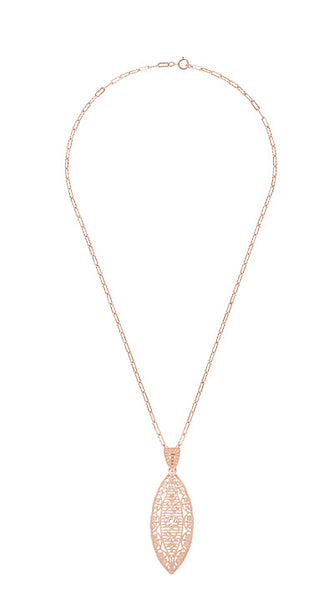 Rose Gold Filigree Leaf Diamond Pendant with Vintage Chain - N171RD