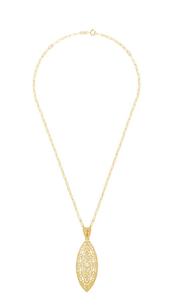 Art Deco Yellow Gold Vermeil Dangling Leaf Diamond Filigree Pendant Necklace - Item: N171YD - Image: 2