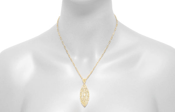 Art Deco Yellow Gold Vermeil Dangling Leaf Diamond Filigree Pendant Necklace - Item: N171YD - Image: 3