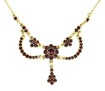 Victorian Bohemian Garnets Teardrop Necklace in Sterling Silver with Yellow Gold Vermeil