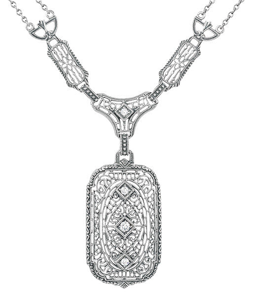 1930's Filigree Art Deco Lavalier Pendant Drop Necklace in Sterling Silver