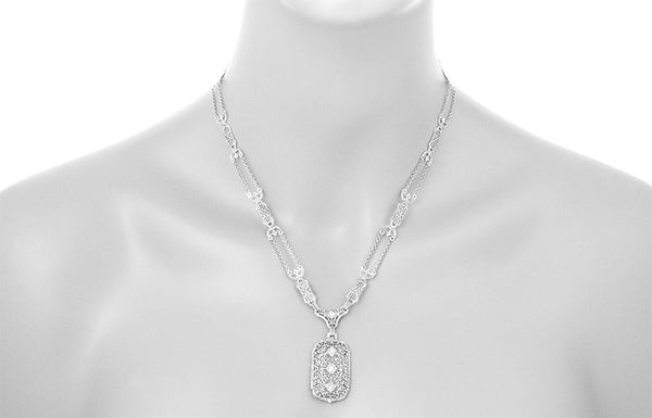 1930's Filigree Art Deco Lavalier Pendant Drop Necklace in Sterling Silver - Item: N188 - Image: 2