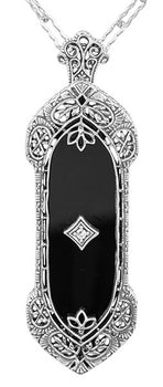 Filigree Onyx and Diamond Edwardian Pendant to Pin Convertible Necklace in Sterling Silver