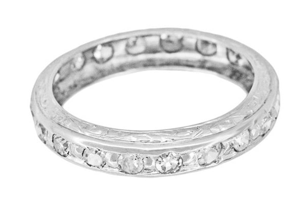Bakersville Platinum Art Deco Eternity Single Cut Diamond Wedding Ring - Size 5.5