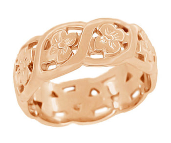 Scrolls and Flowers Mid Century Filigree Wedding Ring in 14 Karat Rose ( Pink ) Gold