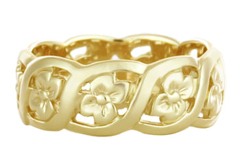 Scrolls and Pansy Flowers Mid Century Filigree Wedding Ring in 14K Yellow Gold