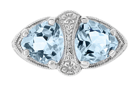 Art Deco Loving Duo Filigree Blue Topaz 2 Stone Ring in 14 Karat White Gold - Item: R1129 - Image: 1