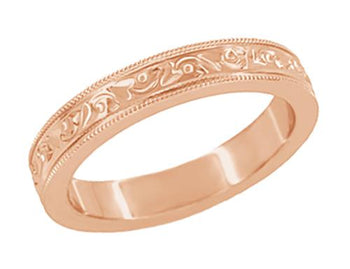 Art Deco Flowers and Leaves Millgrain Edged 4mm Wide Vintage Style 14K Rose Gold Wedding Band