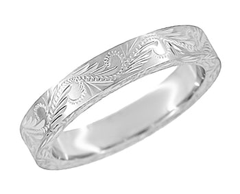 Hand Carved Scrolls & Leaves Vintage Design Wedding Band in White Gold  - Western Engraved