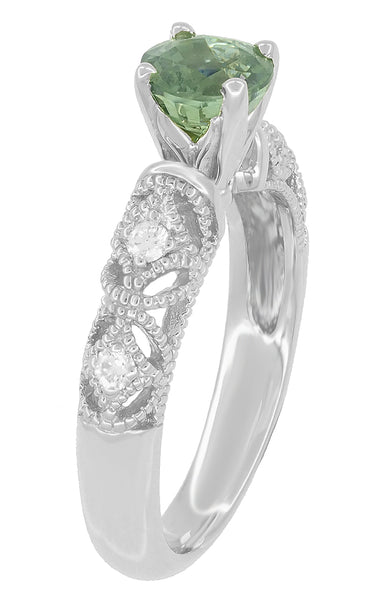 "Antique Inspired ""Freda"" Filigree Green Sapphire and Diamond Engagement Ring in 14K White Gold - Item: R1190W2GS - Image: 5"