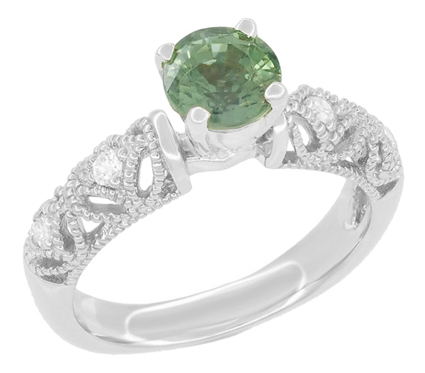 "Antique Inspired ""Freda"" Filigree Green Sapphire and Diamond Engagement Ring in 14K White Gold - Item: R1190W2GS - Image: 1"