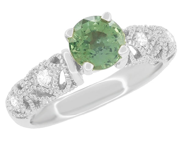 "Antique Inspired ""Freda"" Filigree Green Sapphire and Diamond Engagement Ring in 14K White Gold - Item: R1190W2GS - Image: 2"