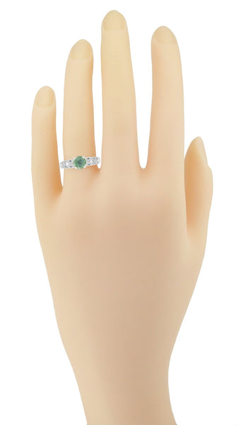 "Antique Inspired ""Freda"" Filigree Green Sapphire and Diamond Engagement Ring in 14K White Gold - Item: R1190W2GS - Image: 7"