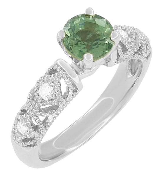 "Antique Inspired ""Freda"" Filigree Green Sapphire and Diamond Engagement Ring in 14K White Gold"