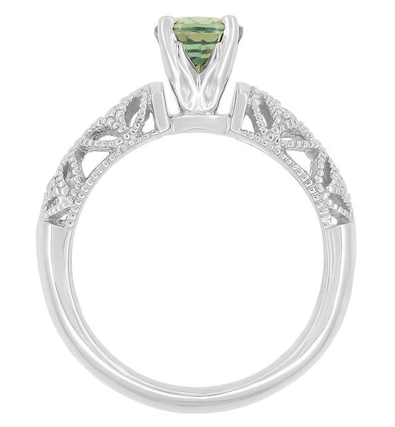 "Antique Inspired ""Freda"" Filigree Green Sapphire and Diamond Engagement Ring in 14K White Gold - Item: R1190W2GS - Image: 4"