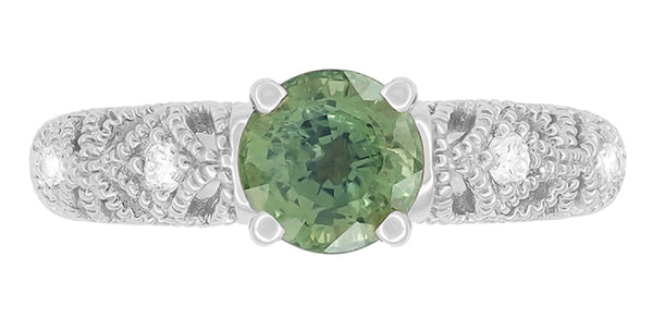 "Antique Inspired ""Freda"" Filigree Green Sapphire and Diamond Engagement Ring in 14K White Gold - Item: R1190W2GS - Image: 3"