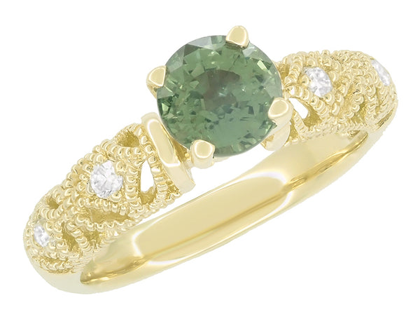 "Vintage Inspired ""Adele"" Filigree Green Sapphire and Diamond Engagement Ring in 14K Yellow Gold"