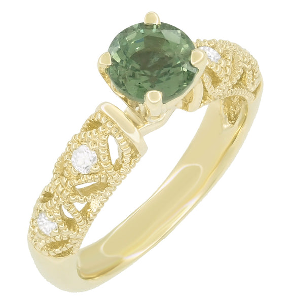 "Vintage Inspired ""Adele"" Filigree Green Sapphire and Diamond Engagement Ring in 14K Yellow Gold - Item: R1190Y2GS - Image: 2"