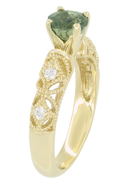 "Vintage Inspired ""Adele"" Filigree Green Sapphire and Diamond Engagement Ring in 14K Yellow Gold - Item: R1190Y2GS - Image: 4"