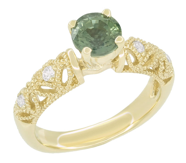 "Vintage Inspired ""Adele"" Filigree Green Sapphire and Diamond Engagement Ring in 14K Yellow Gold - Item: R1190Y2GS - Image: 1"