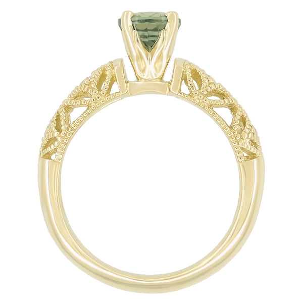 "Vintage Inspired ""Adele"" Filigree Green Sapphire and Diamond Engagement Ring in 14K Yellow Gold - Item: R1190Y2GS - Image: 6"