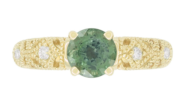 "Vintage Inspired ""Adele"" Filigree Green Sapphire and Diamond Engagement Ring in 14K Yellow Gold - Item: R1190Y2GS - Image: 3"