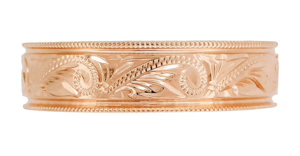 Front View of Rose Gold Men's Carved Scrolls Western Antique Wedding Band 6.5mm Wide R1204R