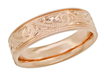 Antique Carved Scrolls Art Deco Mens Western Wedding Band in 14K Rose Gold - 6.5mm Wide